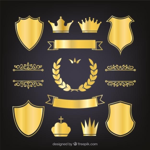 Set di eleganti scudi araldici d'oro