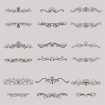 Set di eleganti divisori disegnati a mano