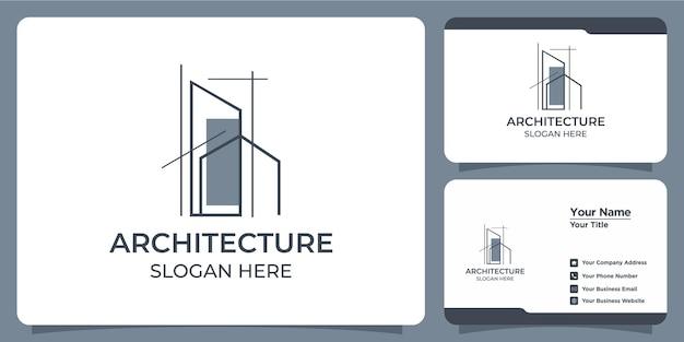 Set di eleganti loghi architettonici minimalisti e biglietti da visita