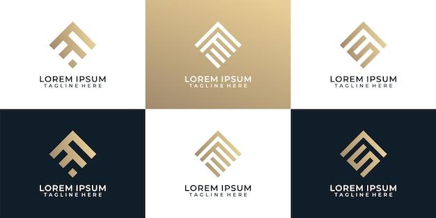 Set di ispirazione per il design del logo astratto della linea monogramma elegante