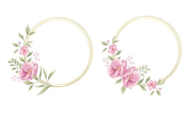 Set di eleganti fiori e foglie rosa con cornice dorata