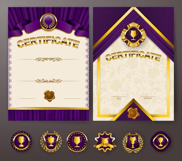 Set di eleganti modelli di diploma con ornamento in pizzo