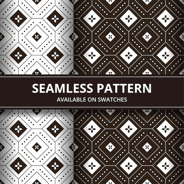 Insieme del fondo senza cuciture tradizionale elegante del batik del giavanese indonesia. carta da parati classica in tessuto. decorazione etnica