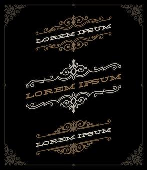 Set di eleganti emblemi ornamentali d'epoca e modelli di loghi - illustrazione.