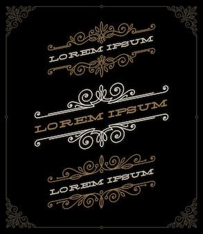 Set di eleganti emblemi ornamentali vintage e modelli di loghi.