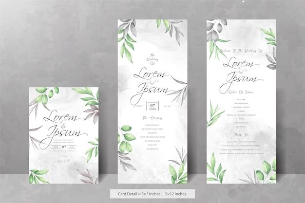 Set di biglietti d'invito per matrimonio con fogliame acquerello elegante