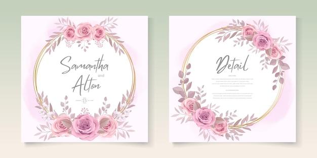 Set di modello di carta di matrimonio elegante con decorazione floreale disegnata a mano
