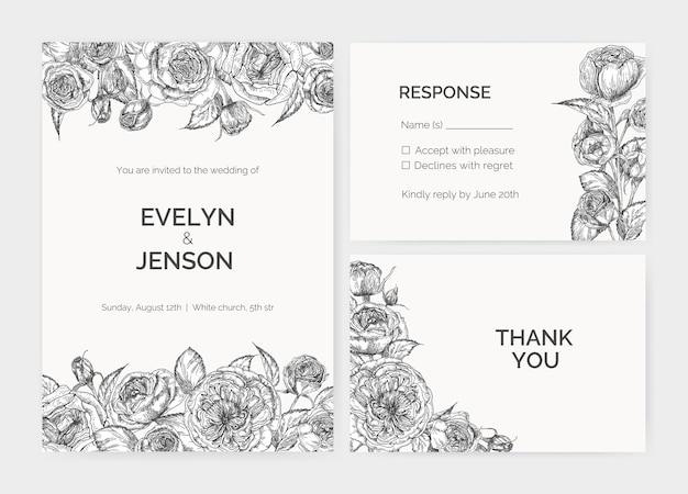 Set di eleganti modelli di invito a nozze, scheda di risposta e nota di ringraziamento decorati da austin rose fiori disegnati a mano con linee di contorno su priorità bassa bianca. illustrazione romantica.