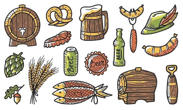 Set di elementi per il birrificio, tra cui una birra, un orso, un luppolo, un cappello con una piuma, orzo, una lattina accartocciata e una bottiglia