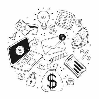Insieme di elementi a forma di cerchio sul tema degli affari e della finanza in stile cartone animato scarabocchio