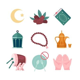 Set di raccolta di elementi per il ramadan kareem religioso islamico