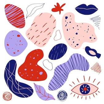 Set di elementi per il design, stile memphis piatto minimale alla moda. forme astratte con texture. illustrazione vettoriale disegnato a mano. isolato su sfondo bianco.