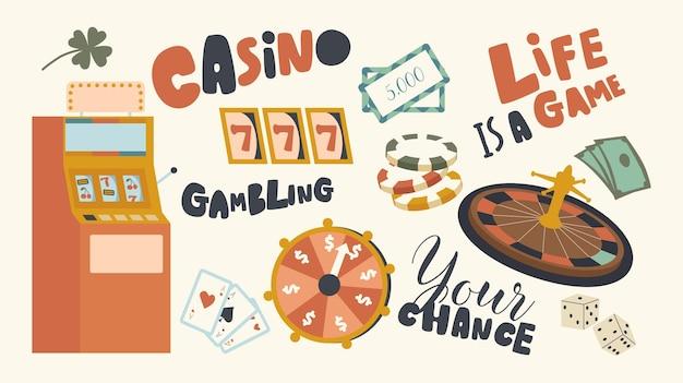Set di elementi del tema dei giochi d'azzardo