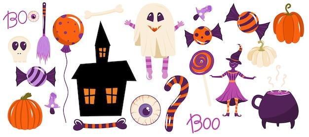Una serie di elementi per halloween sono isolati su sfondo bianco strega fantasma caramelle casa raccapricciante
