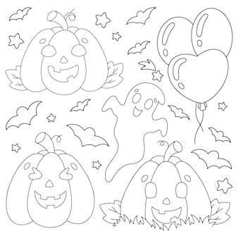 Set di elementi per zucche di halloween fantasmi pipistrelli pagina del libro da colorare per bambini