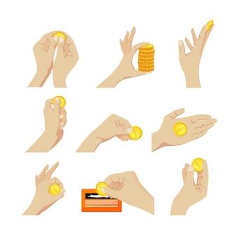 Insieme di elementi mani con monete gesticolando, graffiare il biglietto della lotteria, tenendo la pila e monete singole isolate su priorità bassa bianca