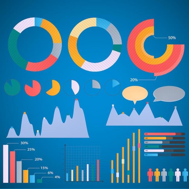 Insieme di elementi infographic, grafico a barre dei grafici a torta. vecchio stile