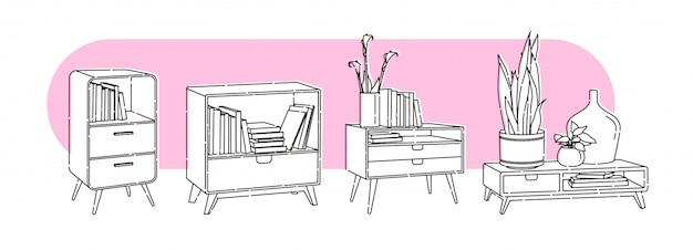 Insieme di elementi, illustrazione di contorno piatto interno