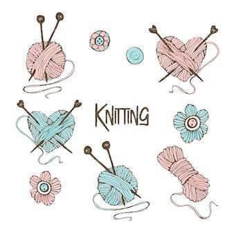 Un insieme di elementi per lavorare a maglia. nello stile di doodle.