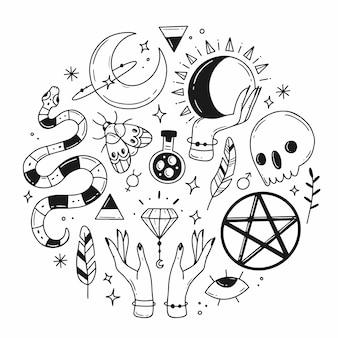 Insieme di elementi di scarabocchio magico esoterico a forma di cerchio