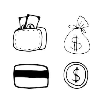 Impostare elementi di denaro nel set di affari di doodle. illustrazione vettoriale disegnata a mano per carte, poster, adesivi e design professionale.