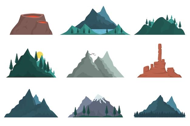 Insieme di elementi della sagoma della natura di montagna. varie montagne molte s. paesaggio naturale, vulcano, colline, iceberg, catena montuosa, tumulo. viaggi all'aperto, avventura, turismo.