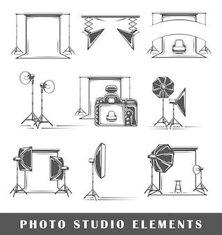 Insieme di elementi dello studio fotografico