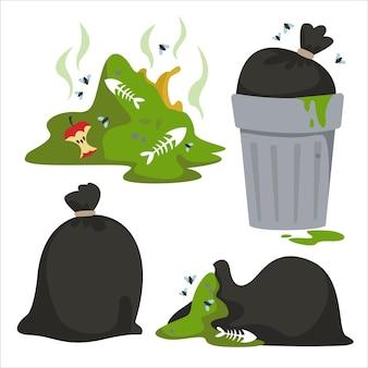 Insieme di elementi relativi alla spazzatura e all'inquinamento ambientale giornata mondiale dell'inquinamento della terra
