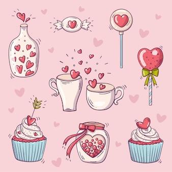 Insieme di elementi per san valentino in stile doodle su sfondo rosa con cuori