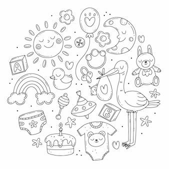 Imposta elementi sul tema della nascita di un bambino in un simpatico stile scarabocchio a forma di cerchio