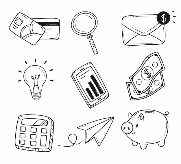 Insieme di elementi sul tema degli affari e della finanza in un semplice stile scarabocchio dei cartoni animati