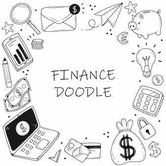 Insieme di elementi sul tema degli affari e della finanza in una semplice cornice in stile cartone animato scarabocchio