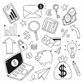 Insieme di elementi sul tema della finanza, del denaro o dei guadagni in uno stile scarabocchio piatto
