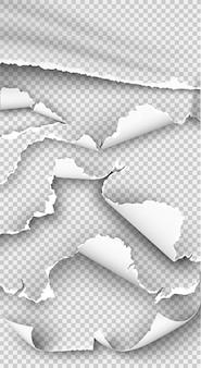 Insieme di elementi carta strappata su trasparente