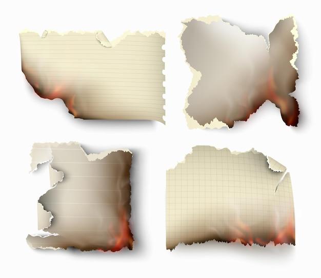 Insieme di elementi di design trasparente strappato modelli carta strappata.