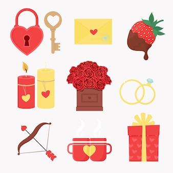 Insieme di elementi per il giorno di san valentino. illustrazione di vettore nello stile piatto del fumetto