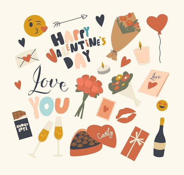 Set di elementi del tema di san valentino