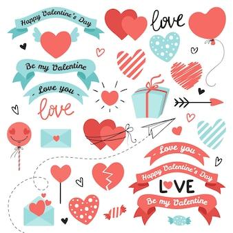Insieme di elementi per san valentino