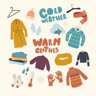 Set di elementi del tema dell'abbigliamento caldo
