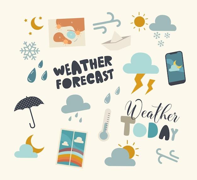 Set di elementi delle previsioni del tempo, tema del bollettino meteorologico