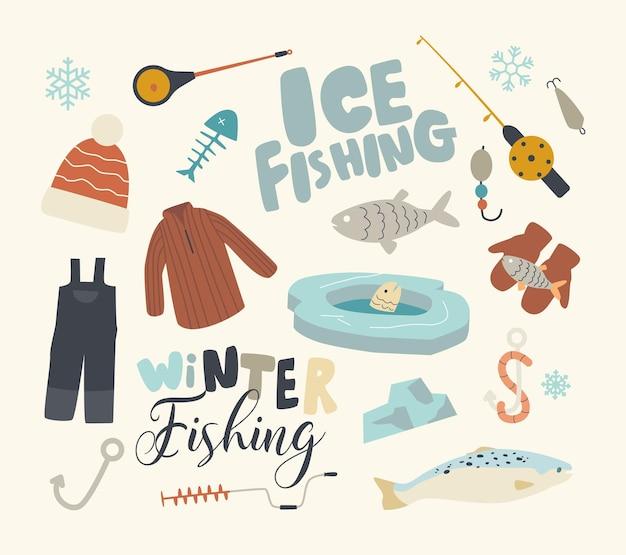 Insieme di elementi tema di pesca invernale Vettore Premium