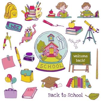 Insieme di elementi con tema back to school