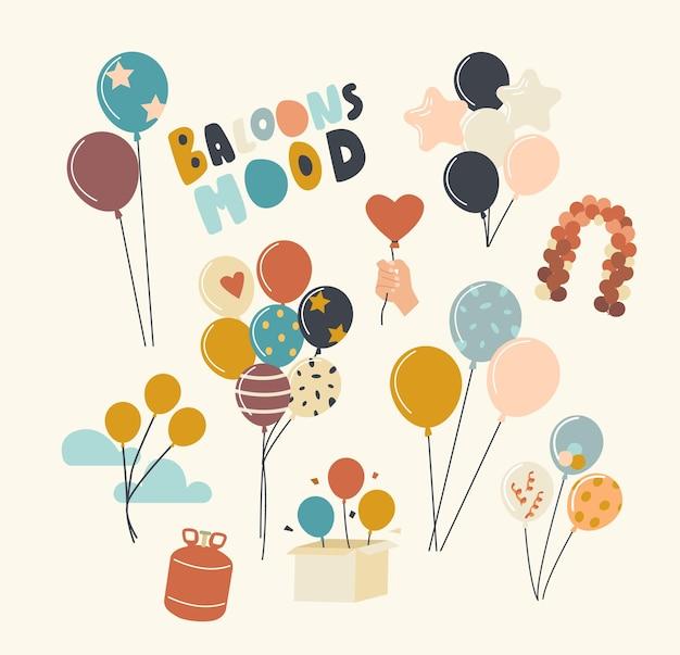 Insieme di elementi con palloncini di elio di diversi colori e forme