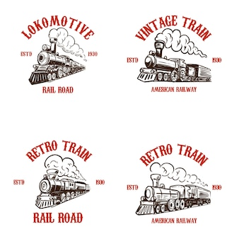 Set di modelli di emblema con treni retrò disegnati a mano.