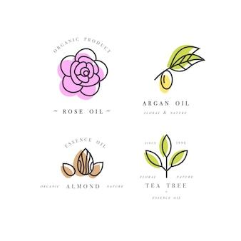 Set di emblemi - oli di bellezza - argan, rosa, mandorla e tea tree