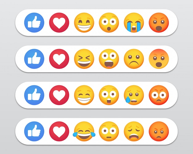 Insieme di reazioni di emoticon emoji e icone simili. illustrazione
