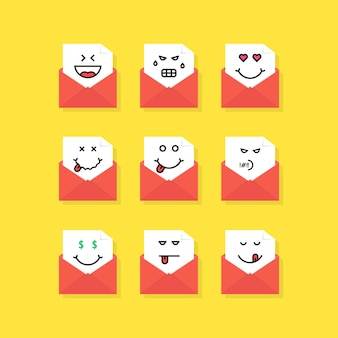 Set di messaggi emoji in lettere. concetto di triste, soddisfare, nuovi sms, chat, odio, buongustaio, annoiato, yum-yum, affrancatura, rabbia, morto. design grafico moderno del logotipo di tendenza in stile piatto su sfondo giallo
