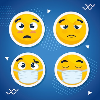 Impostare emoji indossando maschera medica, facce emoji indossando maschera chirurgica icone illustrazione vettoriale design
