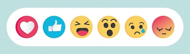 Set di emoticon reazioni dei social media