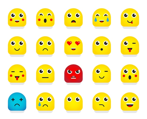 Set di emoticon o emoji. illustrazione.
